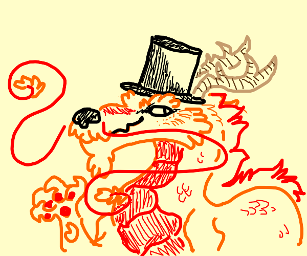 Chinese dragon in a top hat