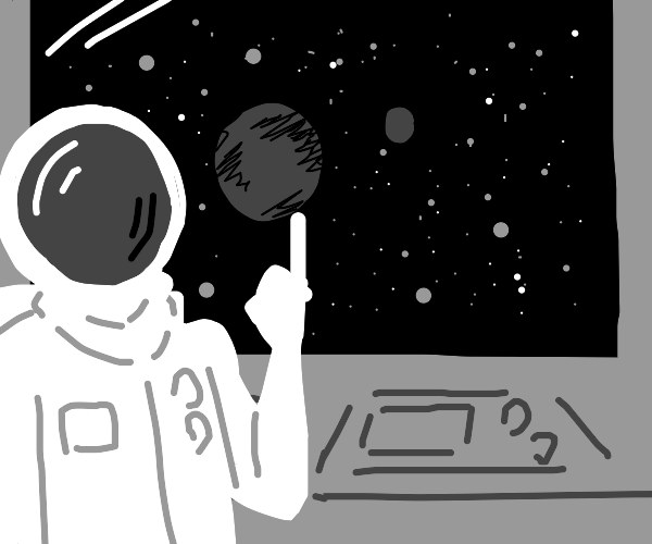 Astronaut presents the earth and moon