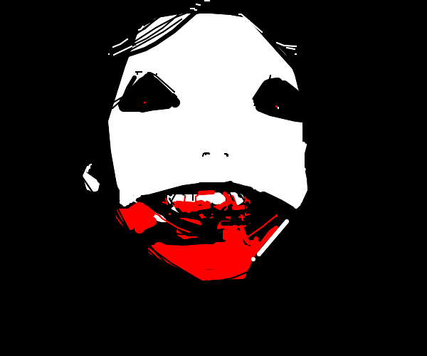 Pale face person with mouthbleed.