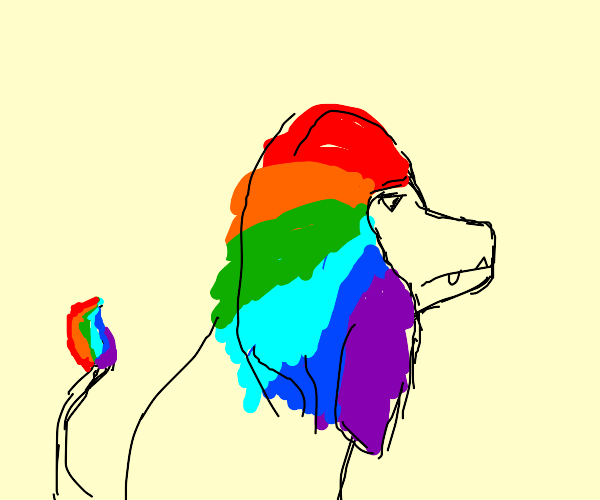 Lion dyed his tail and mane rainbow colored
