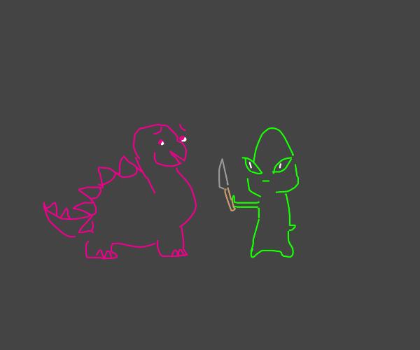 alien threatens dinosaur with knife