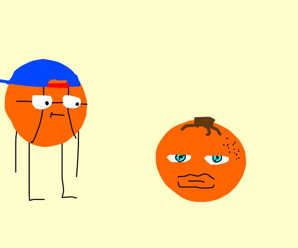 Basketball boy and orange