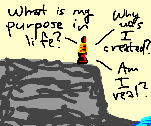 Lava lamp ponders its existence on a cliff