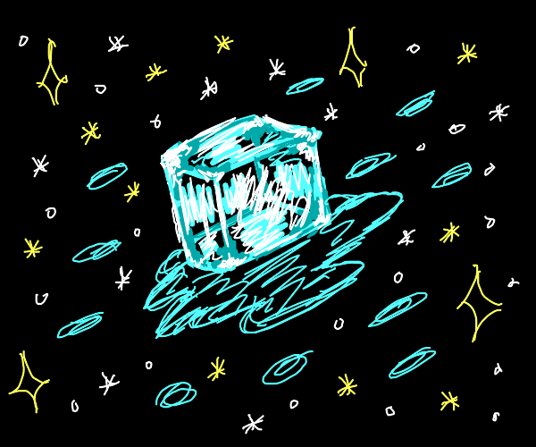 big floating ice cube in space