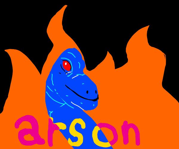 dinosaurs committing  arson.