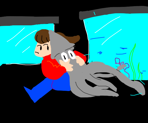 A girl stealing a squid