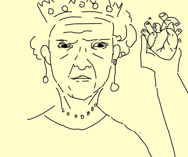 Queen holding a human heart