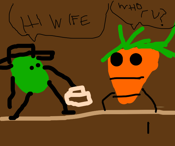 pea gets home to his loving carrot wife