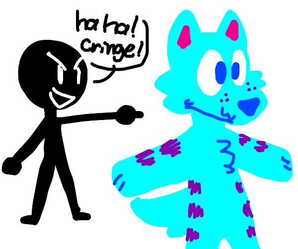 Low self esteem guy laughs at a furry