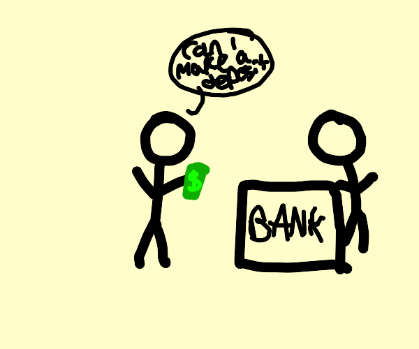 Man goes to make a deposit at the bank