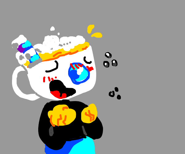 mug man from Cuphead drunk with bear in head