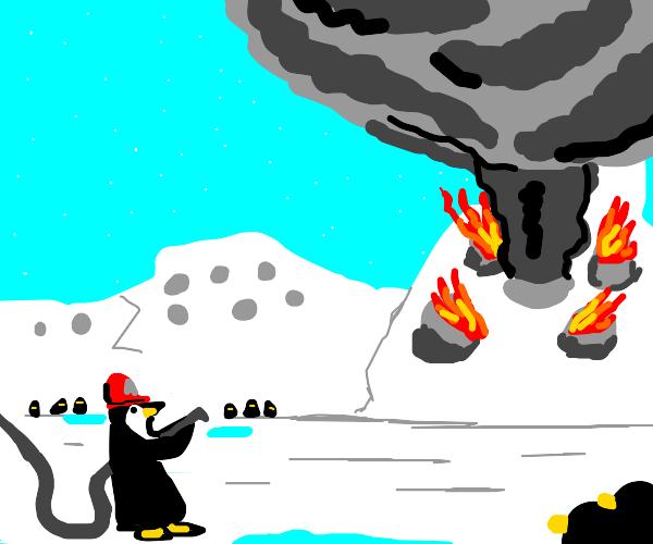 A penguin firefighter