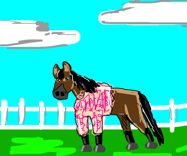 Horse wears a pink, floofy sweater