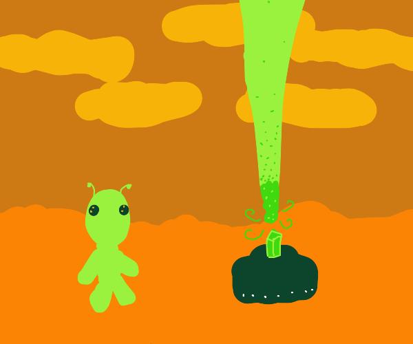 Alien on mars shoots laser