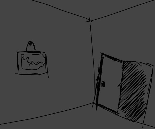 A door opens in a dark room
