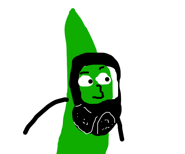 Green bean with a human face wears a gas mask