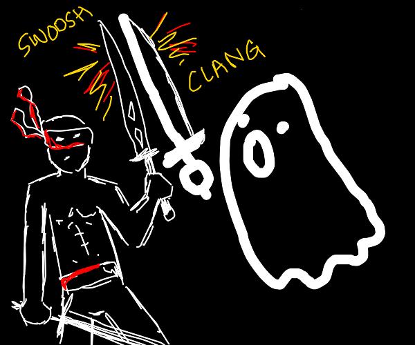a ninja fighting a ghost
