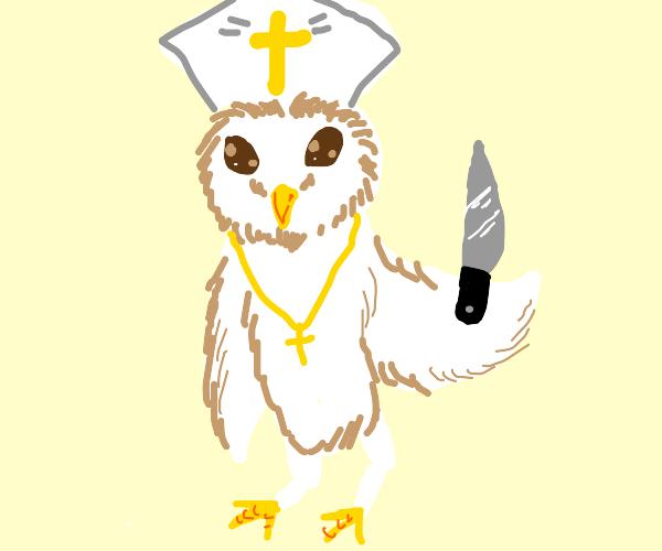 Priest Owl wields a knife