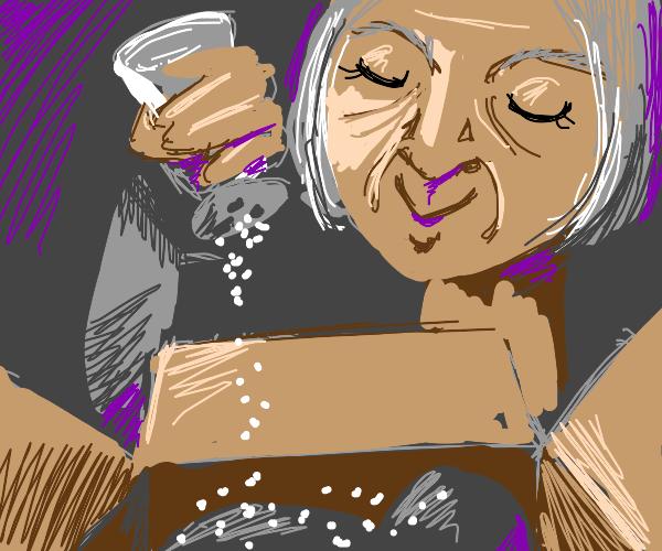 Grandma salting a Package