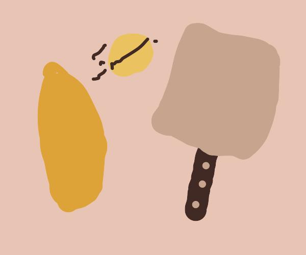 Potato and spatula play catch