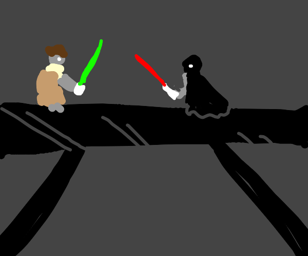 Lightsaber duel between a dad and a son