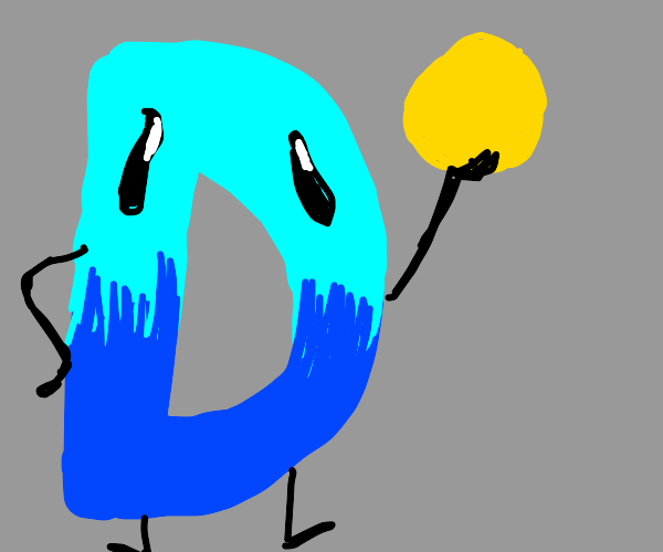 Messed up Drawception D holds yello ball