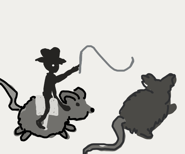 Cowboy riding a giant rat whipping other rat