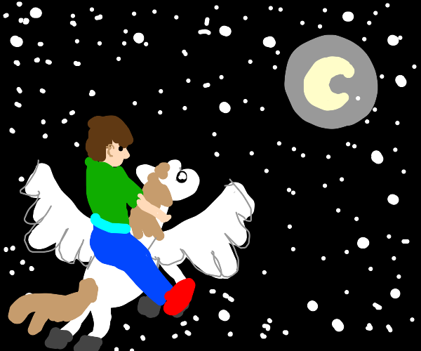 man flying to moon on pegasus