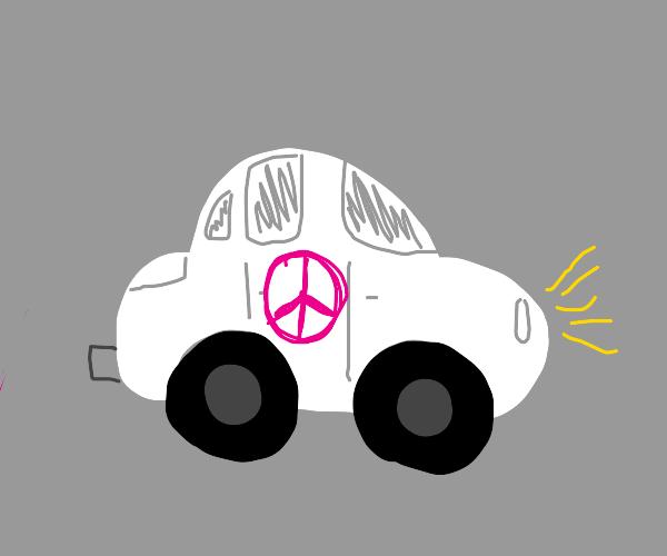 white car with peace symbol logo