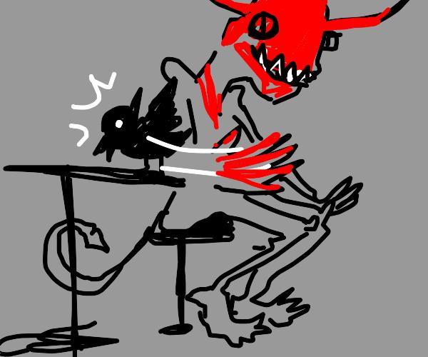 satan slapping a bird