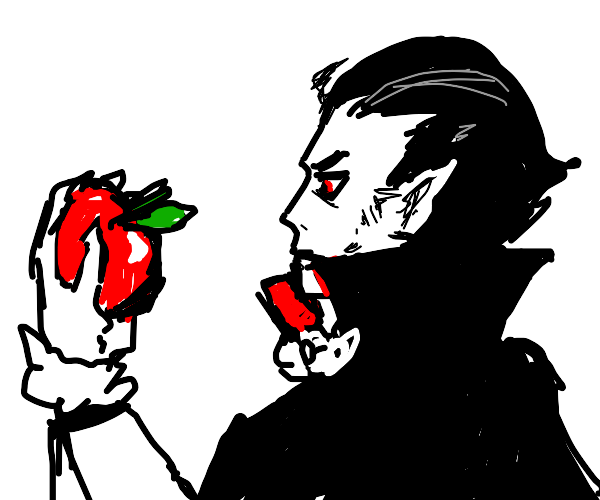 Dracula looks at an apple in palm of his hand