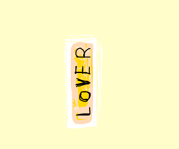 Cheese stick says LOVER on its side.