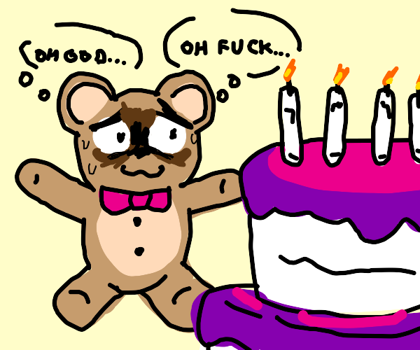 Teddy bear frightened of birthday cake