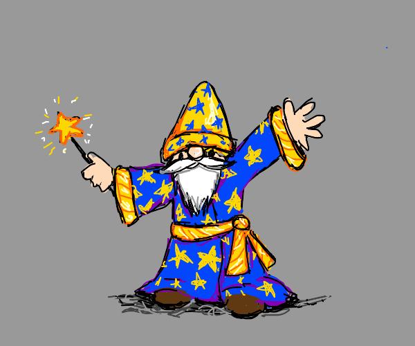 Short Wizard blue robe big yellow hat