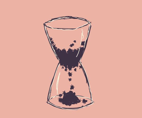 Spiders inside hourglass