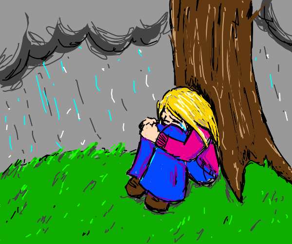 crying under a tree