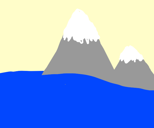 a snowy mountain in the sea