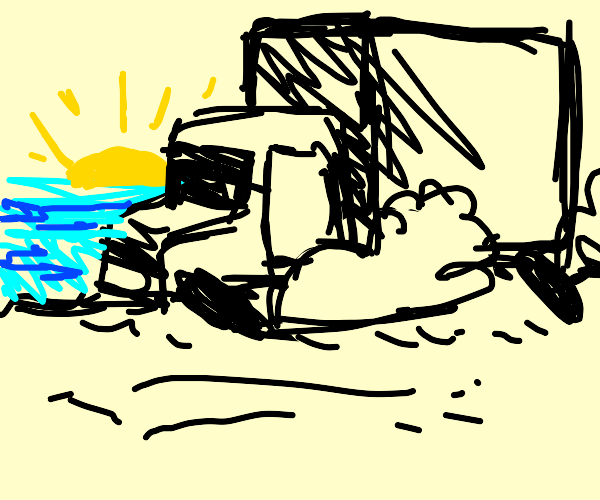 Truck driving on the beach