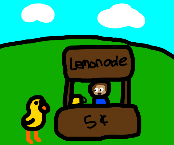 A duck walked up to a lemonade stand.