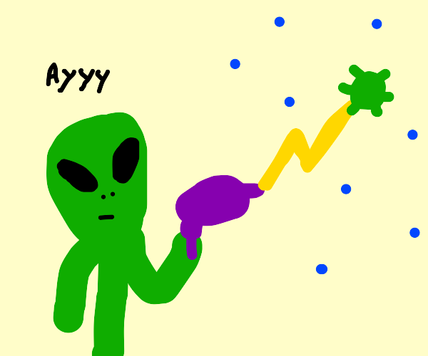 alien banishes coronavirus into space