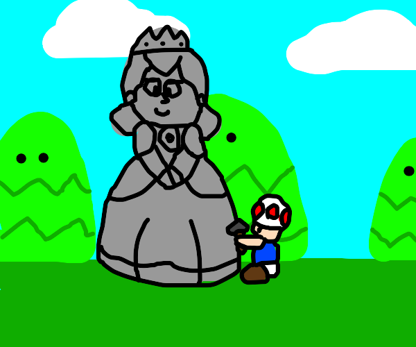 toad constructs statue of peach