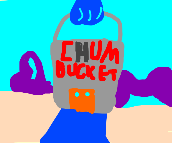 The Chum Bucket but the sign's H burnt out