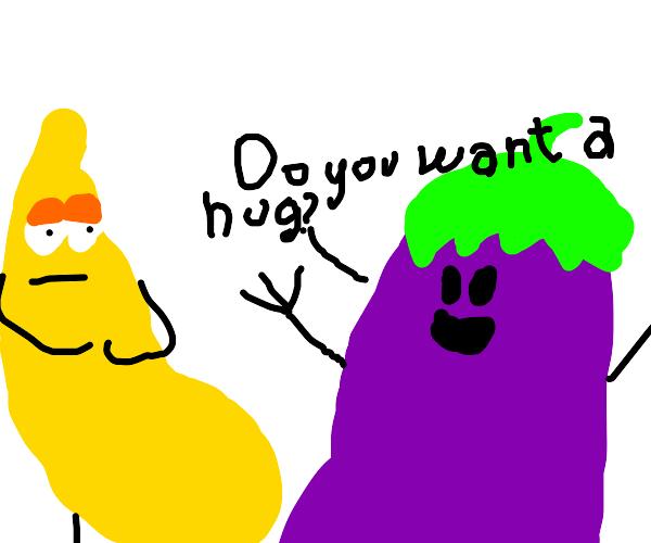 "eggplant asks his friend,""do you want a hug?"""