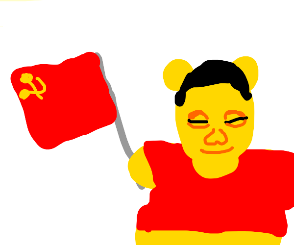 Xi Jinping holding the flag of the CCP