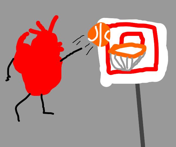 A heart playing basketball