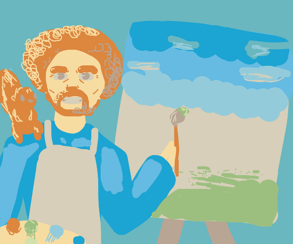 Bob Ross paints with squirrel on shoulder.