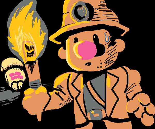 Indiana Jones + diglet in cave with spider