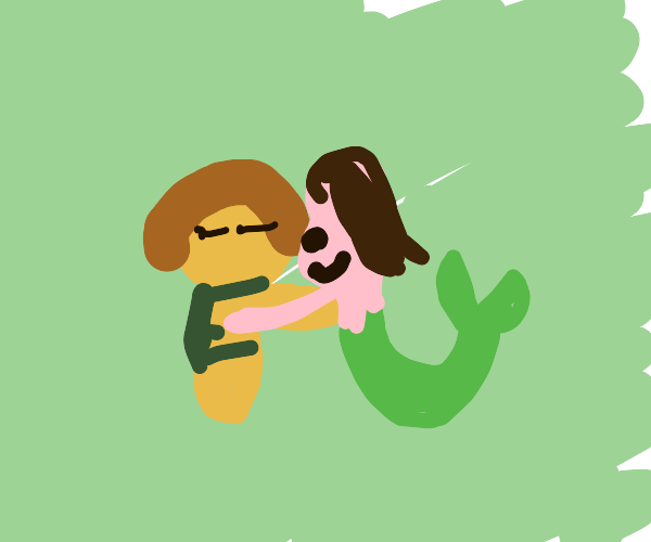 Frisk and Asriel hugging each other