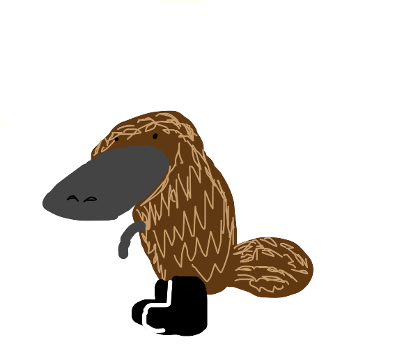 Platypus wearing boots