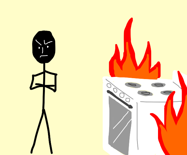 Guy is too mad to notice an oven on fire